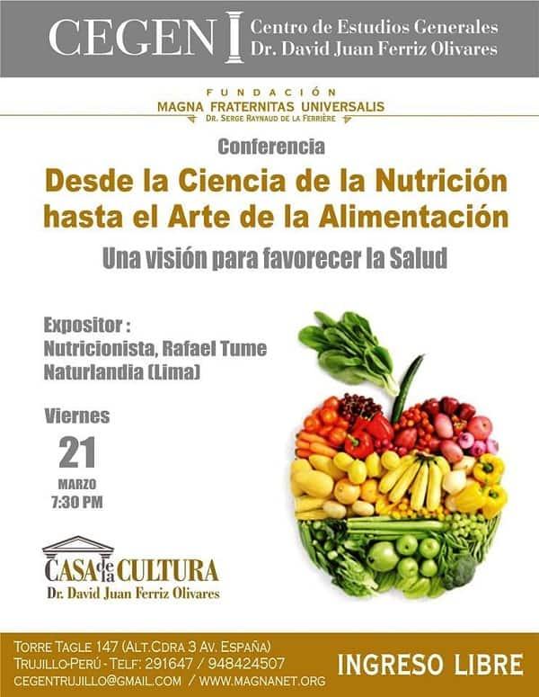 CEGEN dictará este viernes conferencia sobre nutrición y alimentación