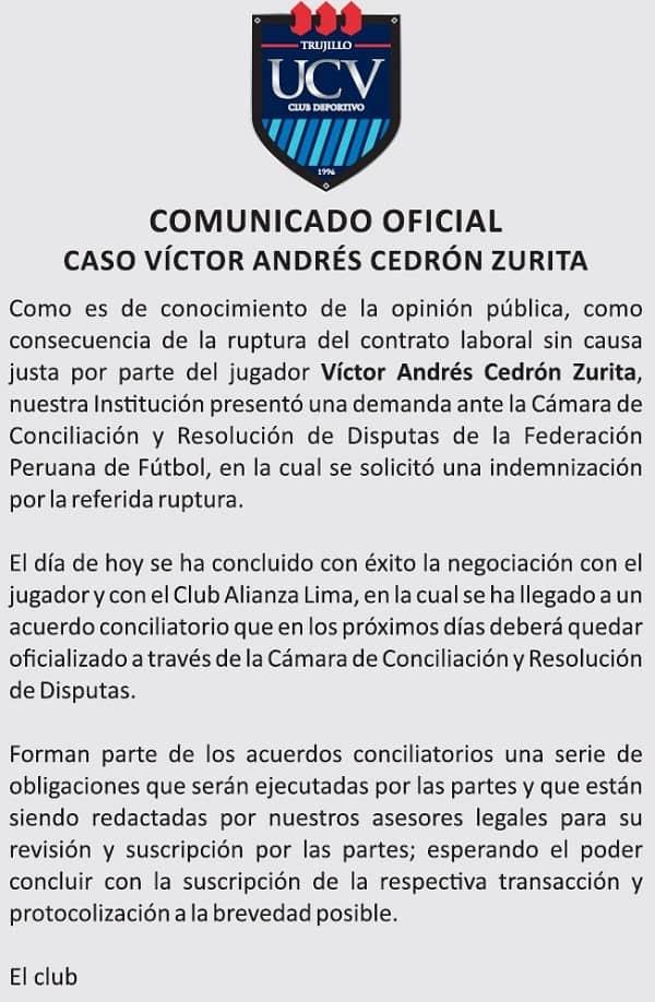 COMUNICADO OFICIAL CASO VÍCTOR ANDRÉS CEDRÓN ZURITA