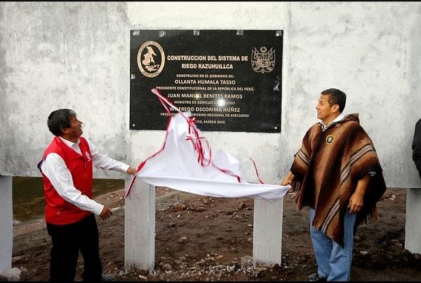 Obras de represamiento de agua inauguradas por presidente Humala en Ayacucho mejorarán productividad agrícola