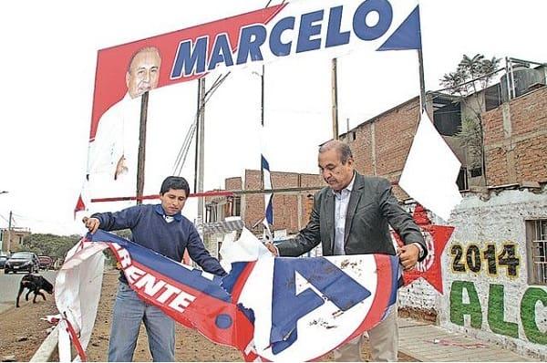 Destruyen paneles de candidatos Daniel Marcelo Jacinto y Roger Torres