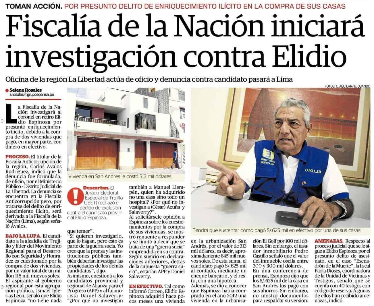 FISCALÍA DE LA NACIÓN INICIARÁ INVESTIGACIÓN CONTRA ELIDIO