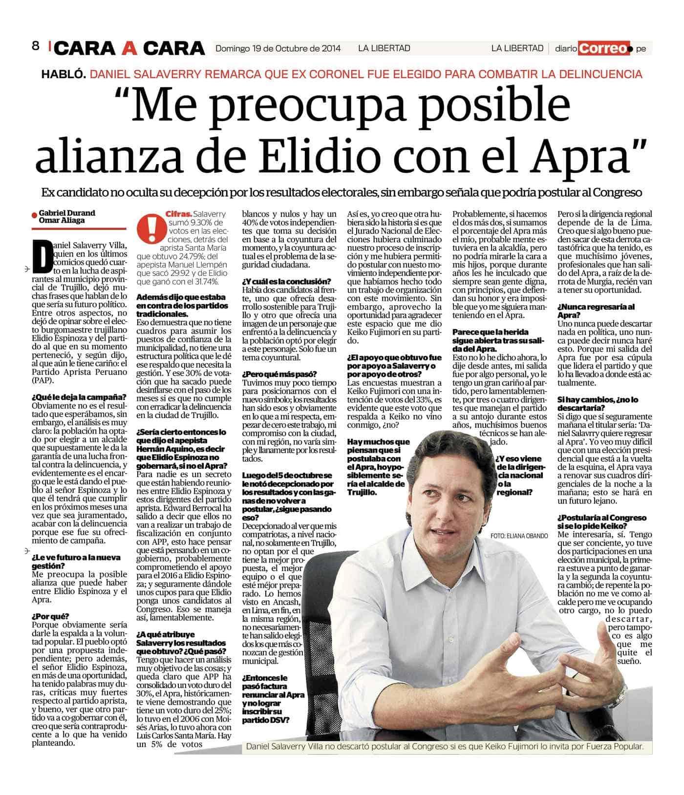 ME PREOCUPA POSIBLE ALIANZA DE ELIDIO CON EL APRA