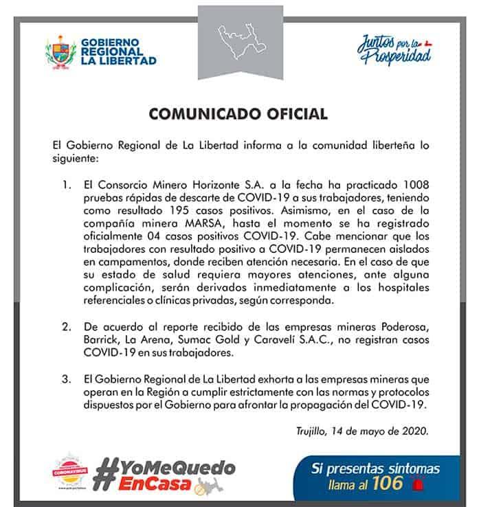 199 infectados con coronavirus en mineras de Pataz